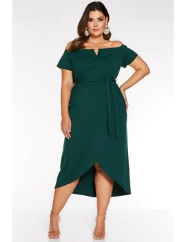 Curve Bottle Green Bardot V Bar Wrap Dress by Quiz