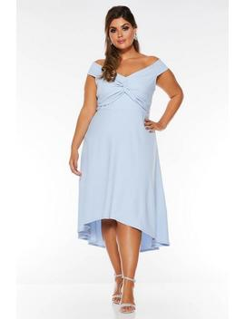 Curve Pale Blue Bardot Knot Dip Hem by Quiz