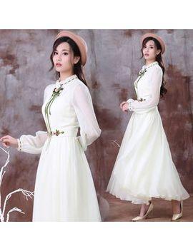 nebbia---long-sleeve-embroidered-flower-a-line-maxi-chiffon-dress by nebbia