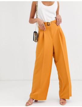 asos-design-belted-pleat-front-wide-leg-pants by asos-design