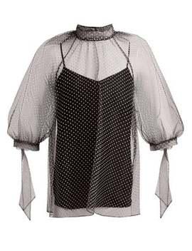 nayla-polka-dot-tulle-blouse by erdem