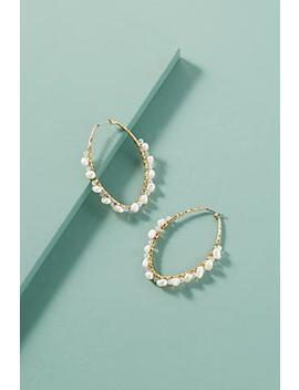 freshwater-pearl-embellished-hoops by anthropologie