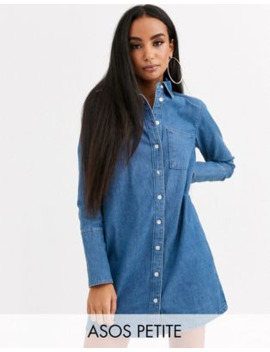 asos-design-petite-denim-shirt-dress-in-blue by asos-design