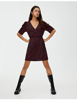 surplice-dress-with-puff-sleeves by pull-&-bear