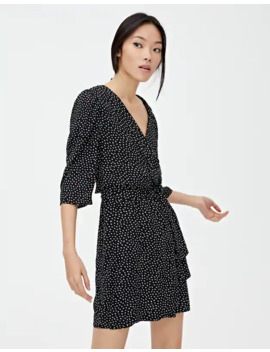 speckled-wrap-mini-dress by pull-&-bear