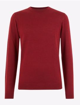 pure-extra-fine-merino-wool-crew-neck-jumper by marks-&-spencer