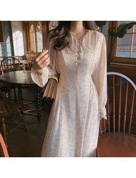 tangihouse---floral-long-sleeve-midi-chiffon-dress by tangihouse