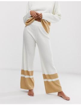 asos-design-lounge-knitted-wide-leg-pants-with-stripe-hem by asos-design