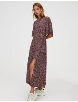 printed-midi-dress-with-flared-sleeves by pull-&-bear