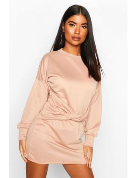 petite-twist-front-sweat-dress by boohoo