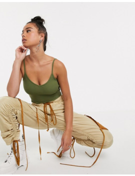 collusion-crop-bralet-with-lettuce-edge-in-khaki by collusion