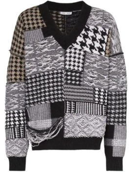 houndstooth-patchwork-distressed-jumper by cmmn-swdn