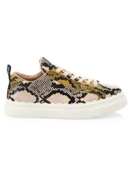 lauren-python-print-leather-sneakers by chloé