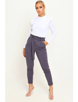 charcoal-d-ring-belted-trousers by i-saw-it-first