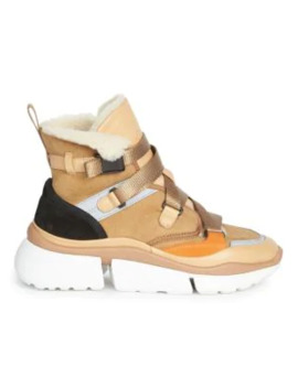 sonnie-lambskin-fur-lined-high-top-sneakers by chloé