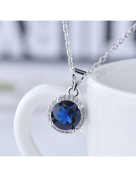 charm-925-silver-round-emerald-amethyst-sapphire-zircon-pendant-necklace-women by unbranded