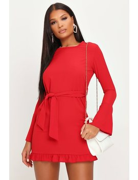red-flare-sleeve-belted-mini-dress by i-saw-it-first