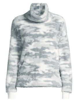 Camo Faux Shearling Mockneck Pullover by Calvin Klein Performance