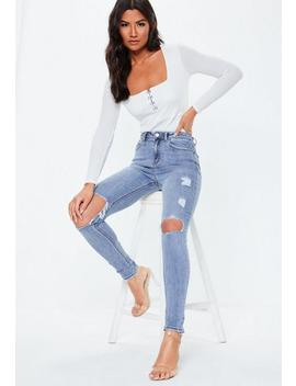 blue-sinner-ripped-knee-high-waist-skinny-jeans by missguided