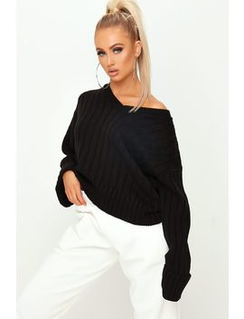 black-v-neck-turn-up-sleeve-knitted-jumper by i-saw-it-first