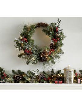 Pre Lit Faux Wintergreens Wreath & Garland by Pottery Barn