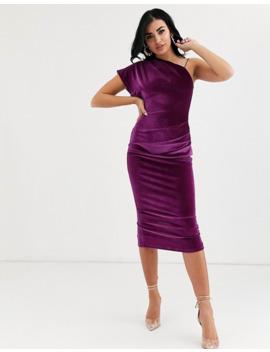 asos-design-velvet-one-shoulder-midi-dress by asos-design