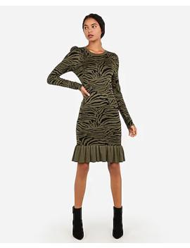 zebra-print-ribbed-flounce-hem-sweater-dress by express