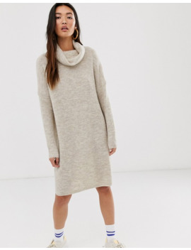 only-brushed-knitted-longline-roll-neck-mini-dress by onlys