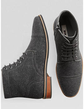 Joseph Abboud Gray Wool Cap Toe Boot by Mens Wearhouse