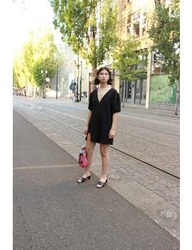 black-puff-sleeve-mini-dress-_-deep-v-neck-_-small-medium by etsy