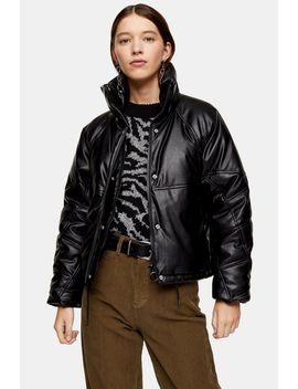 faux-leather-padded-puffer-jacket by topshop