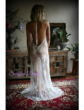 bridal-lace-backless-nightgown-wedding-lingerie-bridal-lingerie-wedding-nightgown-honeymoon-sleepwear-lace-lingerie-halter-nightgown by etsy