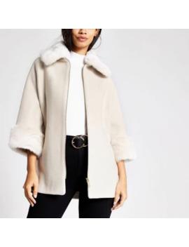 stone-faux-fur-trim-zip-front-coat by river-island