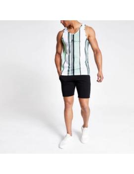 green-stripe-slim-fit-mesh-vest by river-island