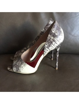 nwot-charles-jourdan-snakeskin-peep-toe-heels by charles-jourdan