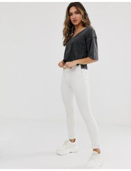 asos-design---t-shirt-col-v-avec-coutures-à-bords-bruts---anthracite-délavé by asos-design