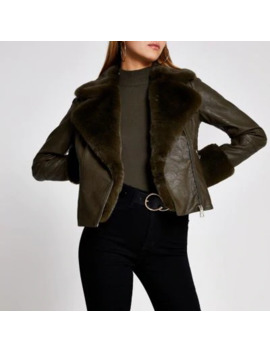 khaki-faux-fur-cuff-quilted-biker-jacket by river-island