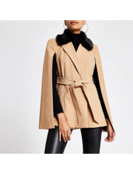 beige-faux-fur-collar-belted-cape-jacket by river-island