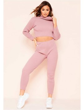 Nelly Rose Ribbed Roll Neck Loungewear Set by Missy Empire