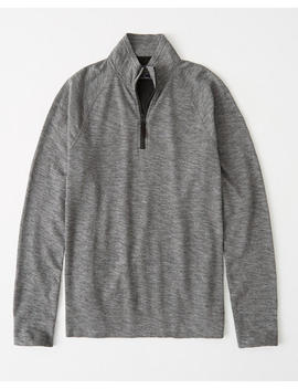 Textured Half Zip Mock Neck Shirt by Abercrombie & Fitch