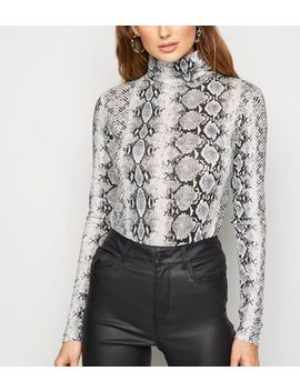 light-grey-snake-print-roll-neck-top by new-look