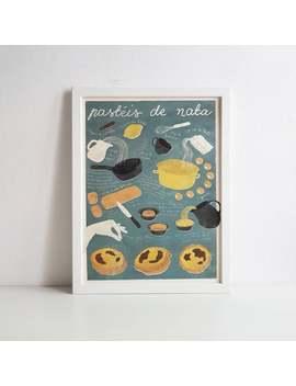 pasteis-de-nata-|-illustrated-recipe-art-print-|-illustrated-food-|-kitchen-art by etsy