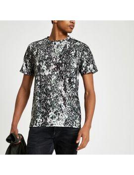 black-leopard-print-slim-fit-mesh-t-shirt by river-island