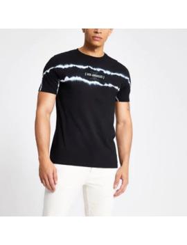 black-tie-dye-slim-fit-t-shirt by river-island