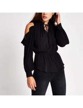 black-tie-neck-cold-shoulder-blouse by river-island