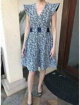 $230-nwot-halston-heritage-blue-w_white-roses-dress-sz-s-~-classy-&-gorgeous! by halston-heritage