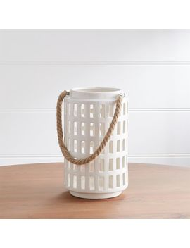 "Peek 10.75"" Ivory Ceramic Lantern by Crate&Barrel"