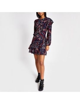 blue-paisley-print-ruffle-swing-dress by river-island