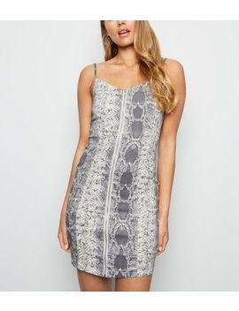 light-grey-snake-print-denim-bodycon-dress by new-look