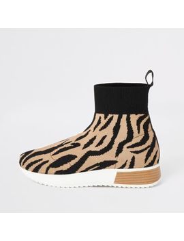 brown-tiger-print-hi-top-runner-trainers by river-island